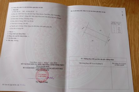 Cần bán 158,2 m2 đất tại TDP Tích Cực, thị trấn Hợp Châu, huyện Tam Đảo, tỉnh Vĩnh Phúc.